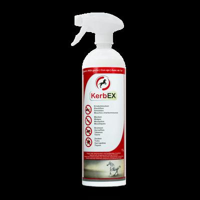 Foto: Flasche mit Sprühkopf, 1000ml, KerbEx rot Insektenschutz für Pferde mit Knoblauch